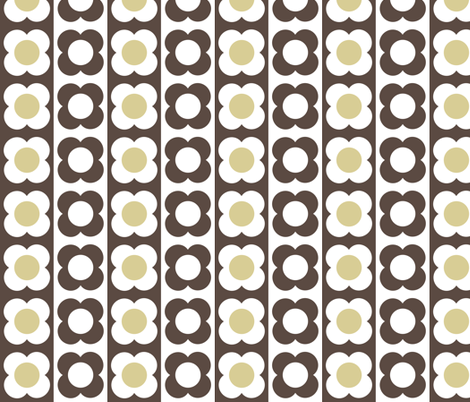 Retro Flower Beige Brown fabric by shelleymade on Spoonflower - custom fabric