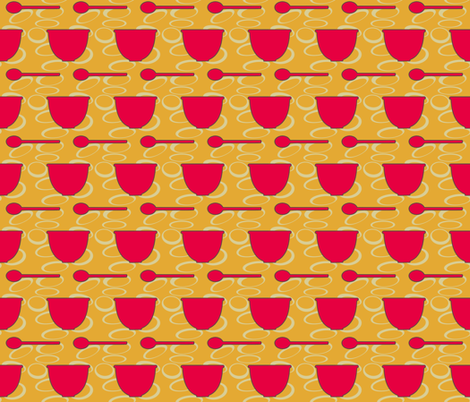retro_kitchen-dish_and_spoon fabric by mammajamma on Spoonflower - custom fabric