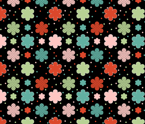 Bright Flowers on Black fabric by jpdesigns on Spoonflower - custom fabric