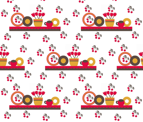 cherry kitchen / shelf fabric by paragonstudios on Spoonflower - custom fabric