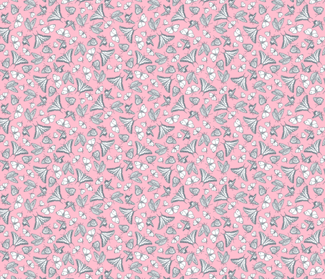 Pink and Gray Butterfly Ditsy Garden Toile  ©2011 by Jane Walker fabric by artbyjanewalker on Spoonflower - custom fabric