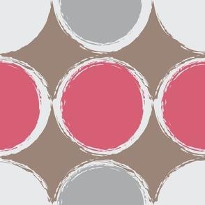 Dots and Diamonds Raspberry Taupe