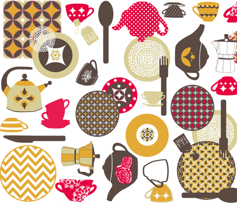 '60 s retro tea party fabric by katarina on Spoonflower - custom fabric