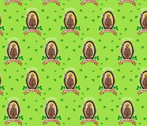 Saint Patrick Patron Saint of Ireland fabric by magneticcatholic on Spoonflower - custom fabric