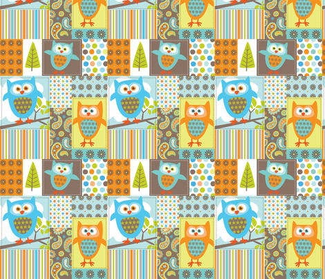 What the Hoot Patchwork fabric by bzbdesigner on Spoonflower - custom fabric