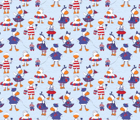 Ducky Good Time  small fabric by bzbdesigner on Spoonflower - custom fabric