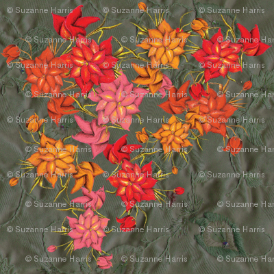 Exotic floral pattern enlarged