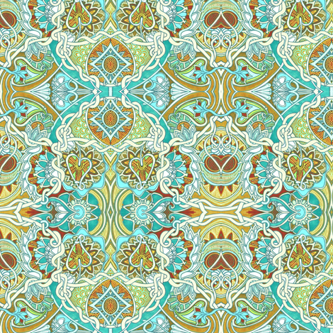 Tangled Aqua Love fabric by edsel2084 on Spoonflower - custom fabric