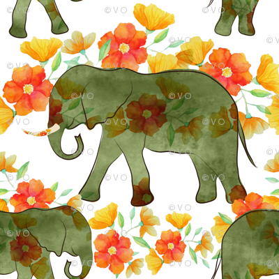 Watercolor elephants on parade