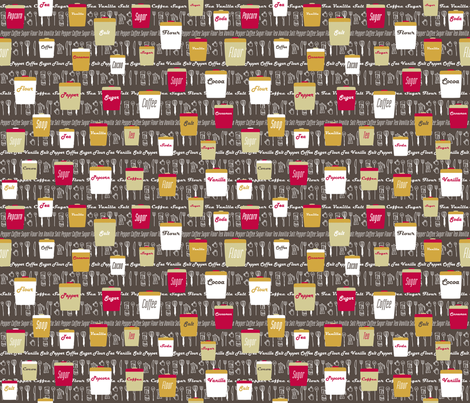 retro kitchen canisters small fabric by hugo_lamarox on Spoonflower - custom fabric