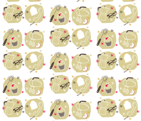 Retro Kitchen fabric by joyfulfabric on Spoonflower - custom fabric