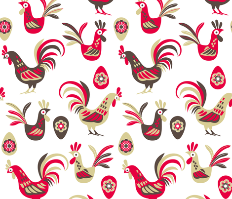 Retro rooster fabric by cjldesigns on Spoonflower - custom fabric