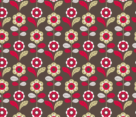 Retro floral dark fabric by cjldesigns on Spoonflower - custom fabric