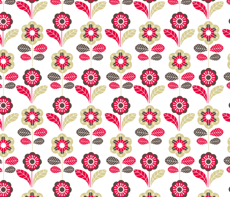 Retro floral light fabric by cjldesigns on Spoonflower - custom fabric