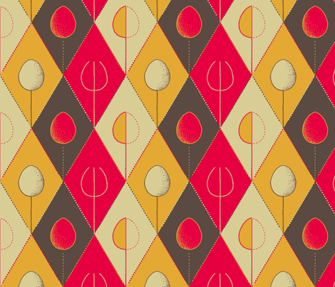 retro kitchen cutlery with egg fabric by zandloopster on Spoonflower - custom fabric
