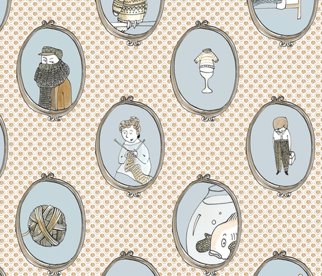 knitting portaits fabric by mummysam on Spoonflower - custom fabric