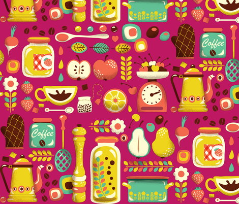 Mum's Kitchen | magenta fabric by irrimiri on Spoonflower - custom fabric