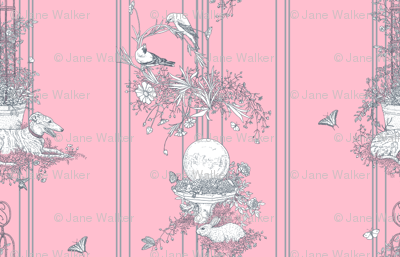 Pink and Gray Stripe Garden Toile Small ©2011 by Jane Walker