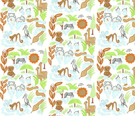 Savannah Waterhole in White fabric by kbexquisites on Spoonflower - custom fabric