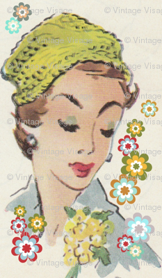vintage_visage's green hat and flowers