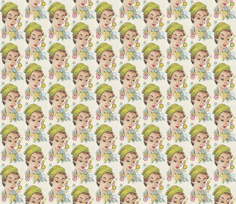 vintage_visage's green hat and flowers fabric by vintage_visage on Spoonflower - custom fabric