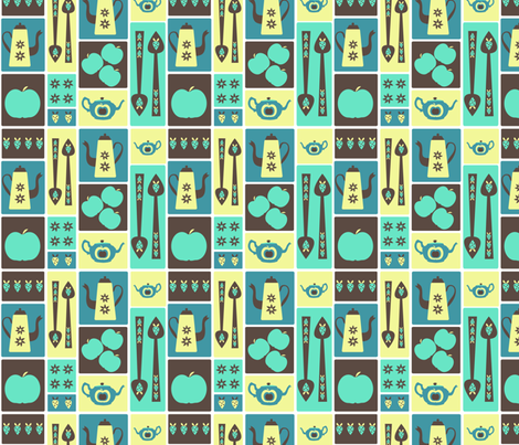 Retro Kitchenalia - blue fabric by madex on Spoonflower - custom fabric