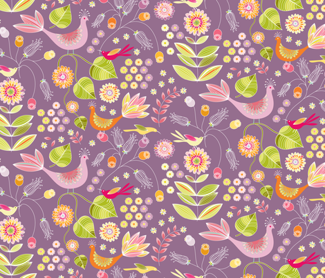 Pheasant Garden - eggplant fabric by kayajoy on Spoonflower - custom fabric