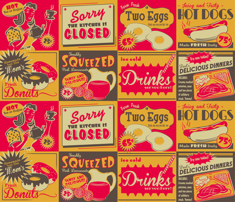 RETRO KITCHEN (advertising) ~ Colour option no. 2 fabric by retrorudolphs on Spoonflower - custom fabric