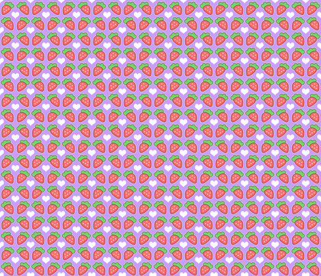 Strawberry and Hearts fabric by kelly's_keychains on Spoonflower - custom fabric