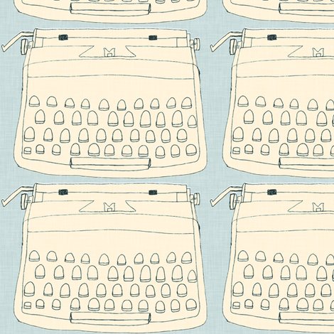 typewriter, cream on grey, line drawing fabric by maker_maker on Spoonflower - custom fabric
