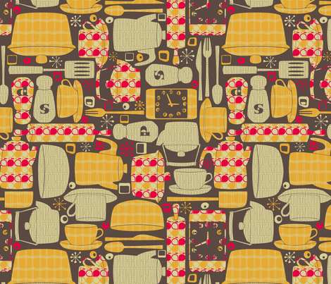 Retro Kitchen fabric by leighr on Spoonflower - custom fabric