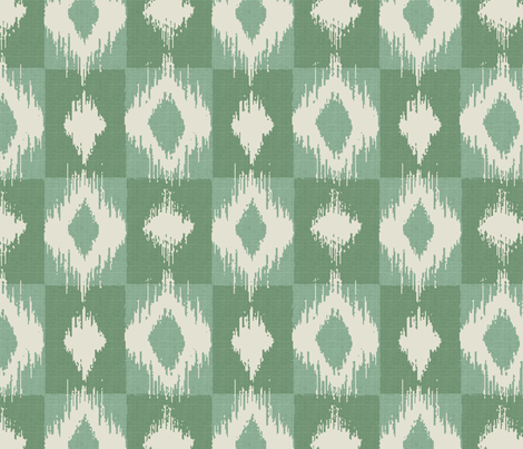 Ikat Aqua fabric by littlerhodydesign on Spoonflower - custom fabric