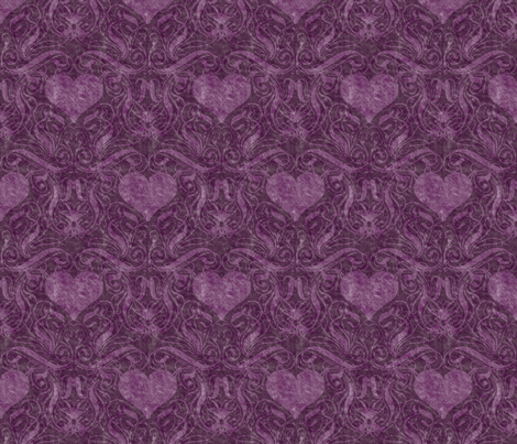 Purple Heart Damask fabric by mystikel on Spoonflower - custom fabric