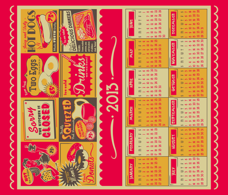 Retro Kitchen (Advertising) ~ 2013 Calendar/Tea Towel fabric by retrorudolphs on Spoonflower - custom fabric