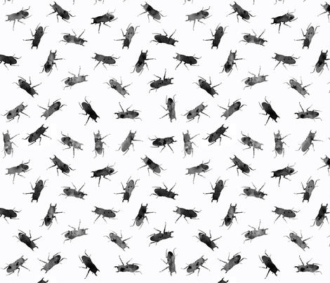 stag-beetle bugs in watercolor texture black and white fabric by katarina on Spoonflower - custom fabric