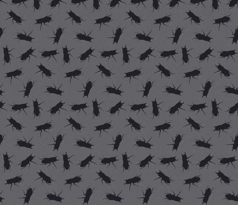stag-beetle bugs on grey fabric by katarina on Spoonflower - custom fabric