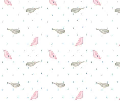 birds under the rain fabric by ariari on Spoonflower - custom fabric