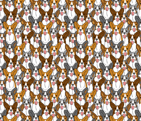 Party of cartoon Cardis fabric by rusticcorgi on Spoonflower - custom fabric