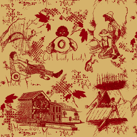 Huck Finn/ vintage fabric by paragonstudios on Spoonflower - custom fabric