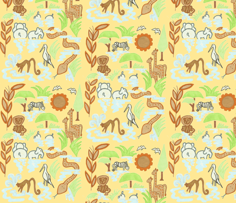 Savannah Waterhole in Sand fabric by kbexquisites on Spoonflower - custom fabric