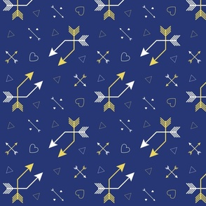 Arrows and Hearts on Navy