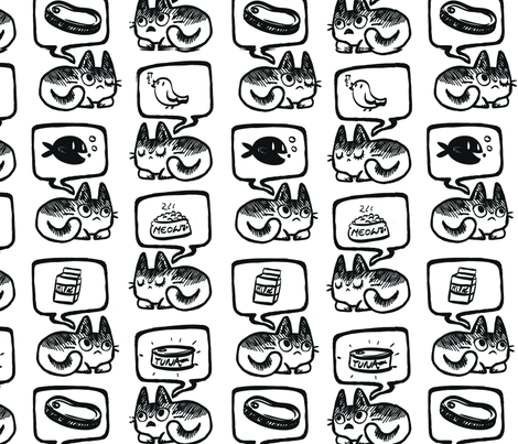 Hungry Cat Pattern fabric by fernandafrick on Spoonflower - custom fabric