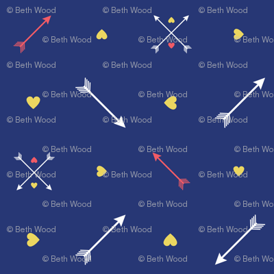Yellow Hearts and Arrows on Navy