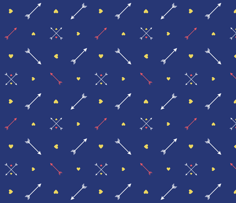 Yellow Hearts and Arrows on Navy fabric by lulalouise on Spoonflower - custom fabric
