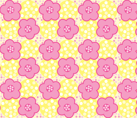 Pink and Yellow Floral 1 fabric by karencraig on Spoonflower - custom fabric