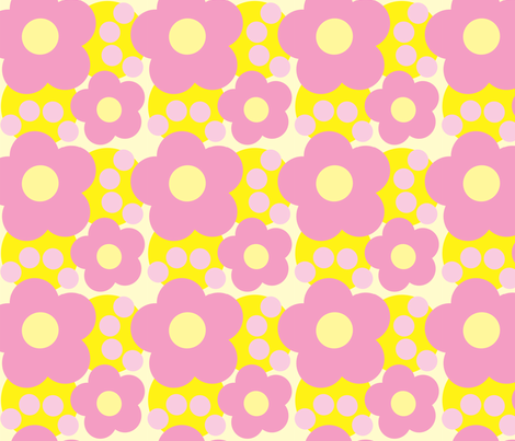 Pink and Yellow Floral 2 fabric by karencraig on Spoonflower - custom fabric