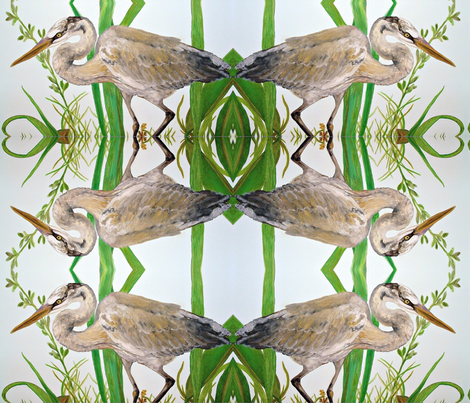 Blue Heron fabric by tresreneestudio on Spoonflower - custom fabric