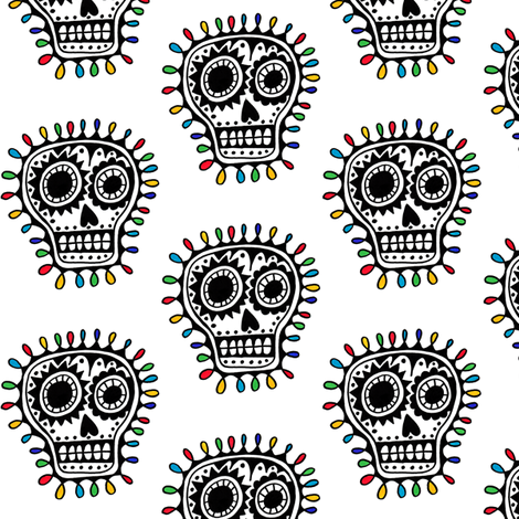 Sharpie Sugar Skull fabric by andibird on Spoonflower - custom fabric