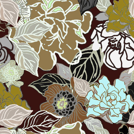 Retro Gardenia Chocolate and Sea Glass fabric by joanmclemore on Spoonflower - custom fabric