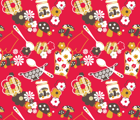 Kitschy Kute Kitchen fabric by sara_berrenson on Spoonflower - custom fabric